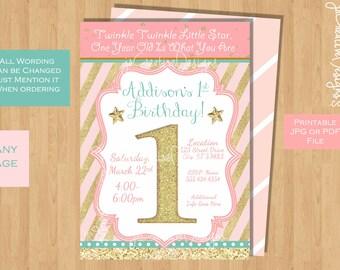 twinkle twinkle little star 1st birthday invitation twinkle twinkle little star first birthday invites twinkle twinkle little star pink gold