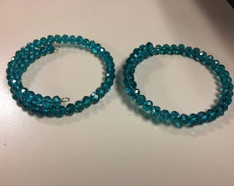 Dark teal beaded bracelets