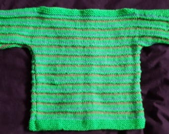 Hand knit childs jumper in green and grey, size 21 inch