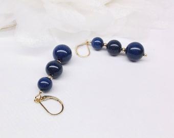 Gold Lapis Earrings Blue Lapis Earrings Lapis Lazuli Earrings Solid 14kt Gold Earrings or 14k Gold Filled Earrings BuyAny3+Get1 Free