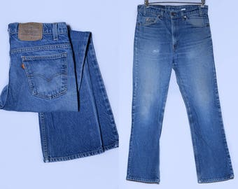 Vintage Levis 517 Perfectly Distressed Denim Orange Tag Blue Jeans 33 x 30