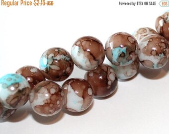 15% OFF - 15 Mottled Glass Beads in Chocolate Brown and Aqua Blue 10mm - BD106