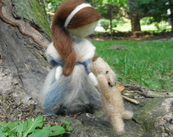 Needle Felted Doll and Dog - Dance Lessons - Waldorf Inspired