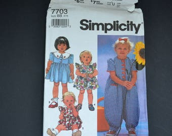 Simplicity sewing pattern 7703 Toddlers romper in two lengths and dress size BB ( 2-4) Original complete uncut instruction Summer beach 1991