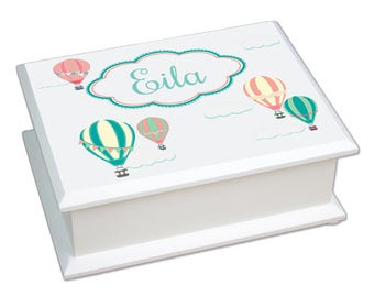 Personalized Hot Air Balloon Lift Top Jewelry Box Oh The Places Adventure Sky Clouds Teal jeweb-233