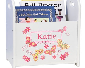 Personalized Book Caddy and Storage with Yellow Butterflies Design-cadd-whi-300d