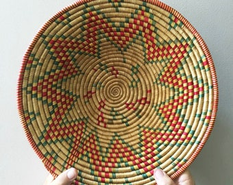 Large Peruvian Woven Round Wall Basket / Vintage Colorful Coiled Basket / Bohemian
