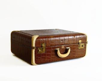 vintage suitcase brown embossed croc 1940s travel luggage