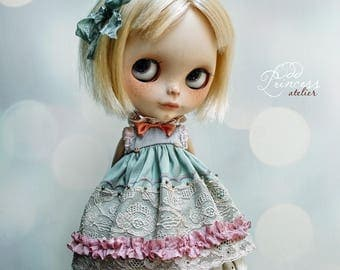 MIDNIGHT TALES Collection, Lilac-Teal Silk Blythe/Pullip/Imda2.6 Dress By Odd Princess, Vintage Collection