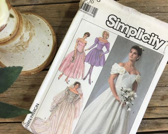 Wedding dress pattern, off the shoulder, formal, prom, graduation, Simplicity 8413 size 10