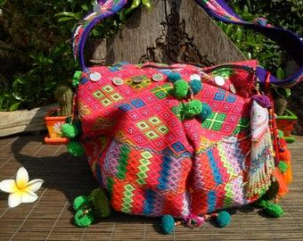 Karen Hill Tribe Textile Tribal Shoulder Bag, Boho Bag, Boho Purse , Tribal Bag, Folk Art Bag