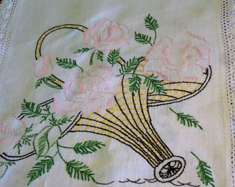 Vintage Hand Embroidered  ~ Linen Runner with Basket of Pink Flowers and Greenery and  Lace Border// Home Decor//Vintage Table Scarf