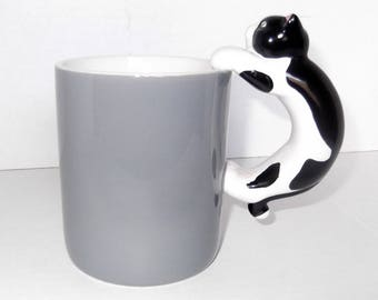 Vintage Hallmark Mug 1989 Ceramic Mug with Cat Handle Blue-Gray Mug