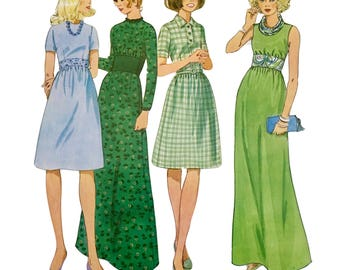 Vintage RETRO Creative Patterns 1970's Instructional Sewing Booklet and Pattern: Empire Style Dresses ~  Instructions/Patterns for 4 Pieces