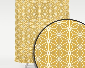 36 colours,  Spicy Mustard, 6 Point Star Pattern Shower Curtain, Polygon, Nordic decor, geometric shower curtains, stars bathroom decor