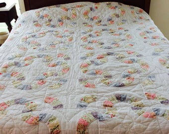 """Patchwork - vintage - cotton quilt - hand quilted - 92"""" x 103"""" - white & small prints - cutter quilt - patchwork blanket"""