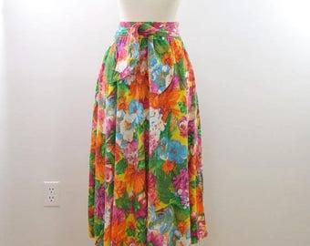 SALE Kates Floral Midi Skirt - Vintage 1980s Tropical Circle Skirt in Medium