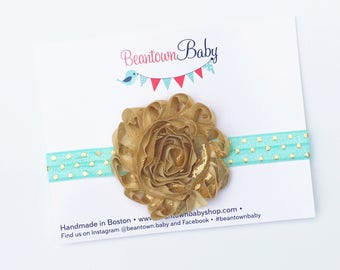 Mint Baby Headband, Mint and Gold Baby Headband, Mint Flower Girl Headband, Mint and Gold 1st Birthday Outfit
