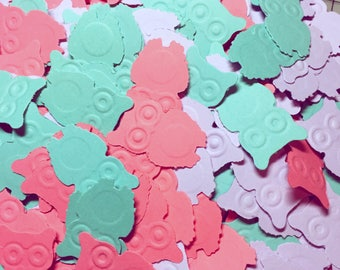 Owl Baby Shower Decoration, Coral Owl Baby Shower, 1st Birthday Owl Decor, Owl Baby Shower Girl, Coral Owl Confetti, Owl Party Confetti