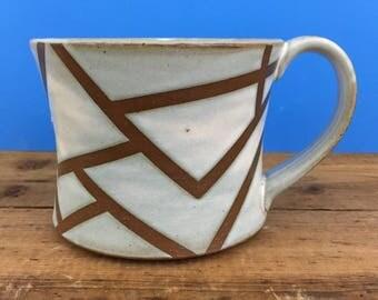 Angled Line Patterned Latte Mug