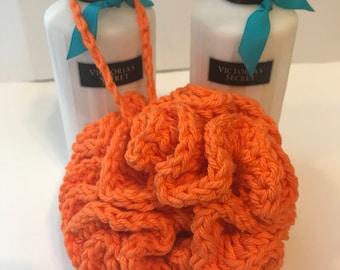 Handmade Orange Crochet Bath Pouf gify ideas under 10 gift basket idea made with 100% cotton yarn