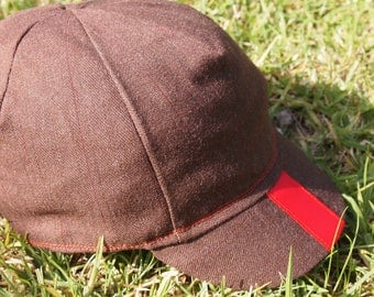 Cycling Cap - Dark Brown with Red Stripe