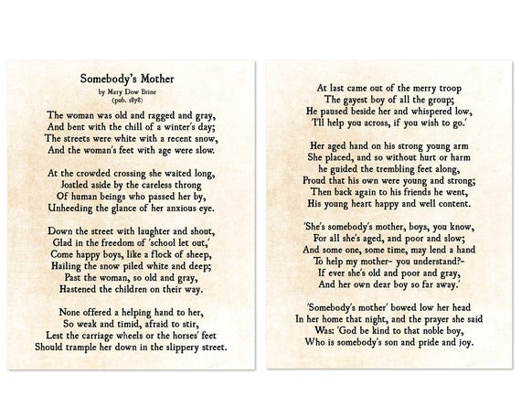 Somebodys Mother Poem Mary Dow Brine Print Gift for Mom