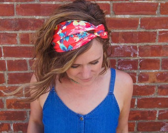 Turban Headband - Coral Floral Turban Headband