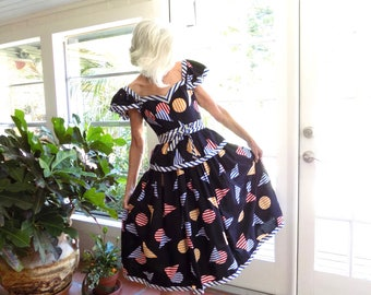 Vintage Victor Costa 1970's 1980's pop art peplum dress: XS extra small
