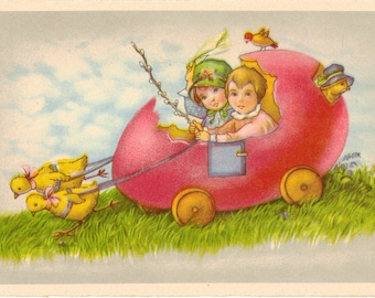 Vintage Easter Postcard, Boy and Girl Riding in Easter Egg Cart, ca 1910