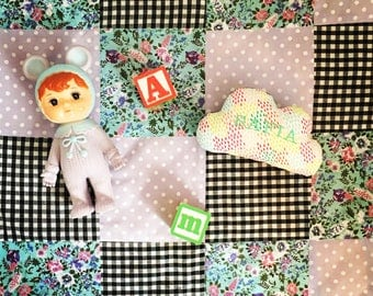 Baby Playmat, Patchwork, Quilt, Gingham, florals, Polkadots, nursery, Baby blanket, cobed, new baby, baby gift, playmat
