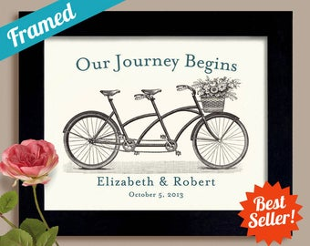 Couples Wedding Gift Decor Unique Engagement Personalized Name Last Minute Gift for Couples Bicycle for Two Bride and Groom Framed Art Print