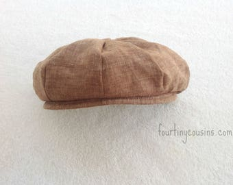 Baby newsboy hat, Baby boy photo prop, Infant newsboy hat, Toddler newsboy hat, Hat, Baby Boy, linen, Baby boy, newborn prop, Ring Bearer