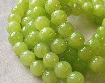 6 mm Pastel Round Grape Green Flower Jade Gem Stones (.mct)