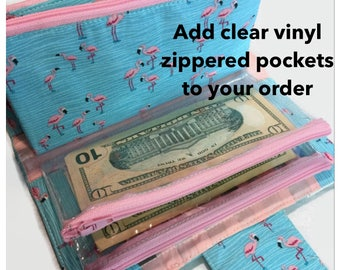 Money Envelope System, Add On, Envelope System, Zippered Pockets, Vinyl Zippered Pockets, Money Pockets, Dave Ramsey Money System