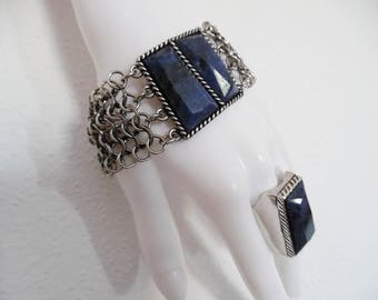 THE AWESOME PAIR . Namibian Sodalite Beautiful Gemstone Bracelet Bangle One Size Chainmail Chain Mail Mesh Steel Matching Ring Chunky Set