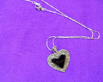 Marcasite, Onyx and Sterling Pendant, Necklace.