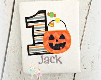Halloween birthday shirt - pumpkin birthday shirt - halloween shirt for boys - 1st Halloween shirt - personalized Halloween candy shirt