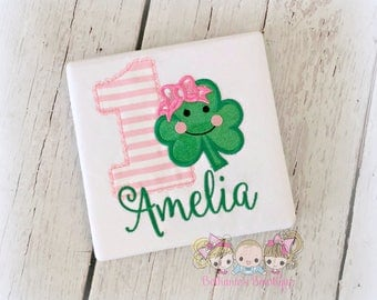 Shamrock birthday shirt for girls - St. Patrick's Day birthday shirt - St. Patty's Day clover shirt - 1st St. Patrick's Day shirt