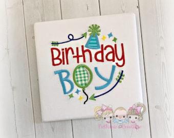 Birthday boy shirt - boys birthday shirt - 1st birthday shirt for boys - custom embroidered birthday boy shirt - hat and balloon