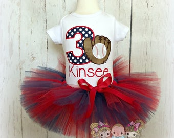 Girls baseball birthday outfit - baseball tutu outfit - baseball themed birthday tutu - blue and red baseball tutu - girls baseball theme