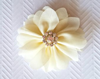 "Ivory Chiffon Flowers. 3"" Chiffon Flowers with Glass Rhinestone Center. QTY: 1 Flower  ~Brea Collection"
