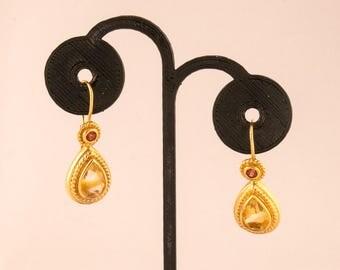 14K Citrine and Garnet Earrings