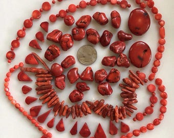 Bead Destash, Mixed Lot, Red Coral