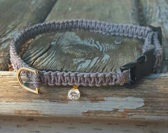 Jewel Pendant Pet Collar, hemp Collar, puppy, cat, dog, kitten Collar, gray collar, bling collar, diamond Collar,
