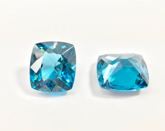 FINAL sale 15x17 mm drilled top one pair london blue topaz lab