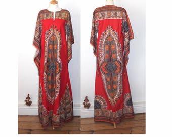 Vintage Indian cotton kaftan. As new unworn. Boho hippie festival dress. Hand blocked indian fabric. Medium size