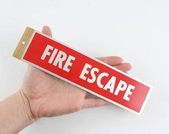 "Vintage HY-KO Fire Escape Sign - Self-Adhesive Aluminum Door Signage 2"" x 8"""
