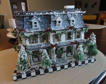 Vintage MacKenzie Childs Lighted winter Farm House Katherine Collection   D014