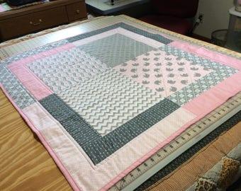 Modern Designs in Muted Pink and Gray Baby Girl Quilt, Newborn Baby Blanket, Toddler Nap Blanket, Nursery Decor